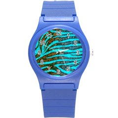 Turquoise Blue Zebra Abstract  Round Plastic Sport Watch (S)