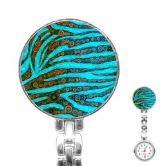 Turquoise Blue Zebra Abstract  Stainless Steel Nurses Watches