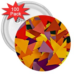 Geo Fun 8 Colorful 3  Buttons (100 pack)