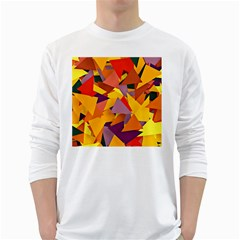 Geo Fun 8 Colorful White Long Sleeve T Shirts