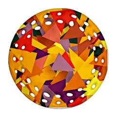 Geo Fun 8 Colorful Round Filigree Ornament (2Side)