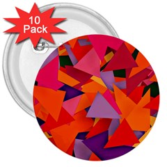 Geo Fun 8 Hot Colors 3  Buttons (10 pack)