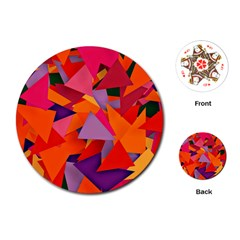 Geo Fun 8 Hot Colors Playing Cards (Round)