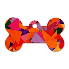 Geo Fun 8 Hot Colors Dog Tag Bone (one Side)