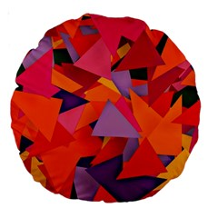 Geo Fun 8 Hot Colors Large 18  Premium Round Cushions