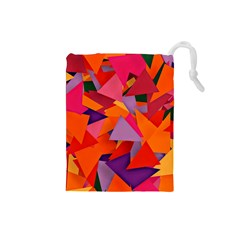 Geo Fun 8 Hot Colors Drawstring Pouches (small)