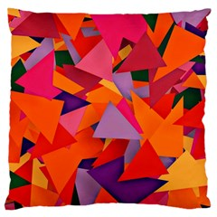 Geo Fun 8 Hot Colors Large Flano Cushion Cases (one Side)