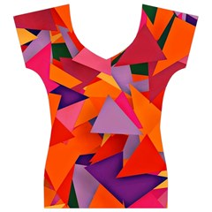 Geo Fun 8 Hot Colors Women s V-Neck Cap Sleeve Top