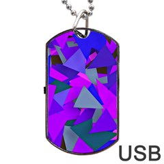 Geo Fun 8 Inky Blue Dog Tag USB Flash (One Side)