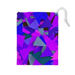 Geo Fun 8 Inky Blue Drawstring Pouches (Large)