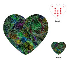 Lovely Allover Bubble Shapes Green Playing Cards (heart)