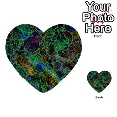 Lovely Allover Bubble Shapes Green Multi-purpose Cards (Heart)
