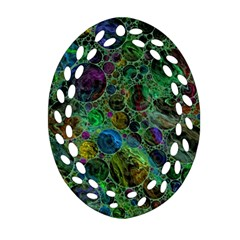 Lovely Allover Bubble Shapes Green Ornament (Oval Filigree)