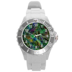 Lovely Allover Bubble Shapes Green Round Plastic Sport Watch (L)