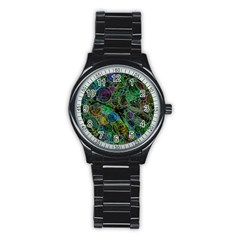 Lovely Allover Bubble Shapes Green Stainless Steel Round Watches