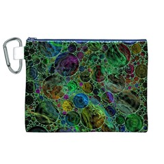 Lovely Allover Bubble Shapes Green Canvas Cosmetic Bag (XL)