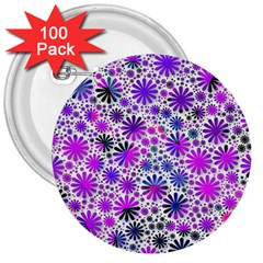 Lovely Allover Flower Shapes Pink 3  Buttons (100 Pack)