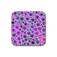 Lovely Allover Flower Shapes Pink Rubber Square Coaster (4 pack)