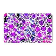 Lovely Allover Flower Shapes Pink Magnet (Rectangular)