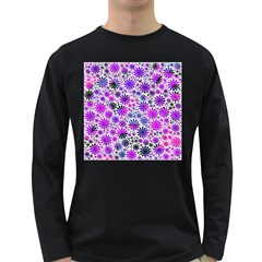 Lovely Allover Flower Shapes Pink Long Sleeve Dark T Shirts