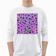 Lovely Allover Flower Shapes Pink White Long Sleeve T Shirts