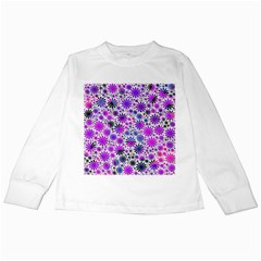 Lovely Allover Flower Shapes Pink Kids Long Sleeve T Shirts