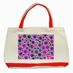 Lovely Allover Flower Shapes Pink Classic Tote Bag (Red)