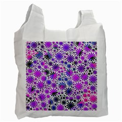 Lovely Allover Flower Shapes Pink Recycle Bag (One Side)