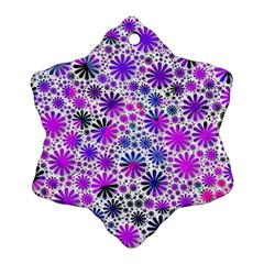 Lovely Allover Flower Shapes Pink Snowflake Ornament (2-Side)