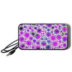 Lovely Allover Flower Shapes Pink Portable Speaker (Black)