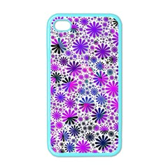 Lovely Allover Flower Shapes Pink Apple iPhone 4 Case (Color)