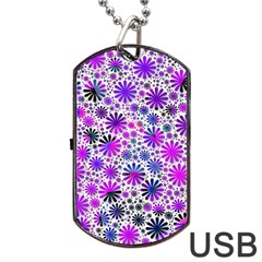Lovely Allover Flower Shapes Pink Dog Tag USB Flash (Two Sides)