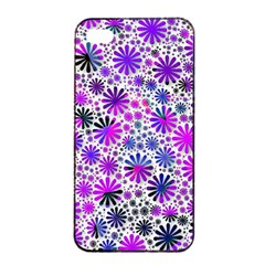Lovely Allover Flower Shapes Pink Apple iPhone 4/4s Seamless Case (Black)