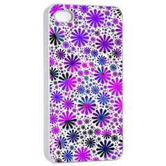 Lovely Allover Flower Shapes Pink Apple iPhone 4/4s Seamless Case (White)