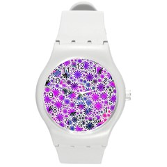 Lovely Allover Flower Shapes Pink Round Plastic Sport Watch (M)