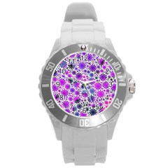 Lovely Allover Flower Shapes Pink Round Plastic Sport Watch (l)