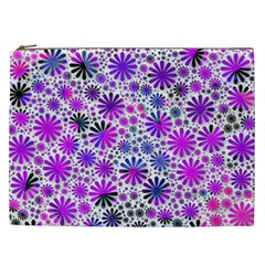 Lovely Allover Flower Shapes Pink Cosmetic Bag (XXL)