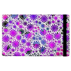 Lovely Allover Flower Shapes Pink Apple iPad 3/4 Flip Case
