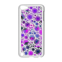 Lovely Allover Flower Shapes Pink Apple iPod Touch 5 Case (White)