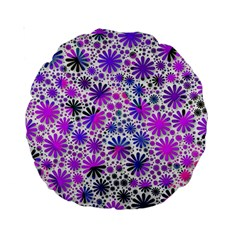 Lovely Allover Flower Shapes Pink Standard 15  Premium Round Cushions