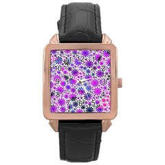 Lovely Allover Flower Shapes Pink Rose Gold Watches