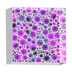 Lovely Allover Flower Shapes Pink 5  x 5  Acrylic Photo Blocks