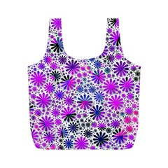 Lovely Allover Flower Shapes Pink Full Print Recycle Bags (m)