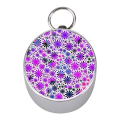 Lovely Allover Flower Shapes Pink Mini Silver Compasses