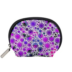 Lovely Allover Flower Shapes Pink Accessory Pouches (small)