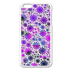 Lovely Allover Flower Shapes Pink Apple Iphone 6 Plus Enamel White Case