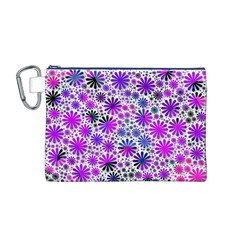 Lovely Allover Flower Shapes Pink Canvas Cosmetic Bag (M)