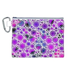 Lovely Allover Flower Shapes Pink Canvas Cosmetic Bag (L)
