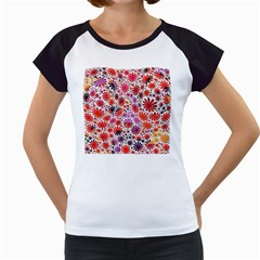 Lovely Allover Flower Shapes Women s Cap Sleeve T