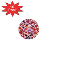 Lovely Allover Flower Shapes 1  Mini Magnet (10 Pack)
